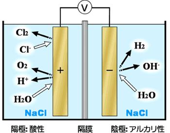 強酸性電解水生成装置(有隔膜二槽式)の概略図